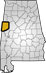 Map showing Pickens County location within the state of Alabama
